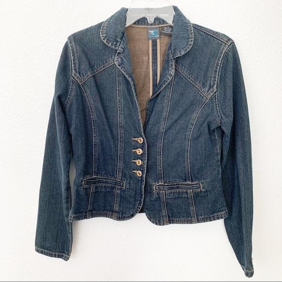 French Cuff Jackets & Blazers - French Cuff Womens Denim Jacket 100% Cotton Dark